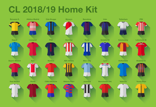 Vector illustrated set of 32 jerseys of the best European football clubs for the season 2018/19