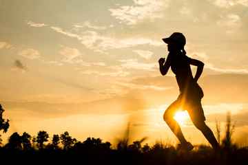 Fitness silhouette sunrise jogging workout wellness concept