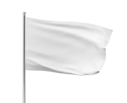 3d rendering of white flag hanging on post and wavering on a white background.