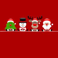 Square Christmas Tree, Snowman, Rudolph & Santa Gift Red