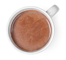 Canvas Prints Chocolate Hot chocolate or cocoa drink in a cup or mug. Top view of hot chocolate, isolated on white background.