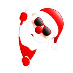 Santa Sunglasses Banner Round