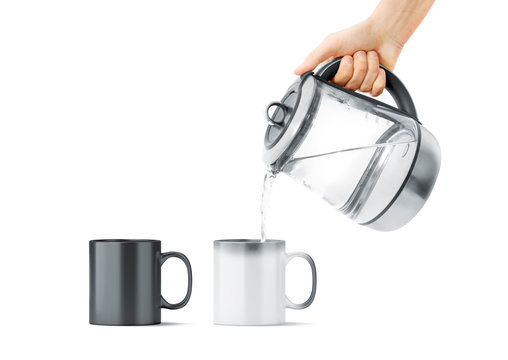 Blank black and white magic mug with hot teapot mockup