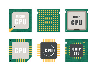Set of processor icons. Micro chips on a white background in flat  style. Vector illustration