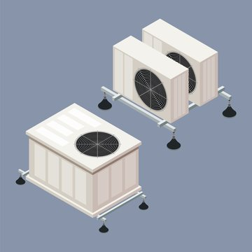 Air conditioning in isometric style on a colored background. A vector illustration of the element of home comfort, smart home