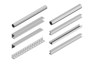 Metal pipes and corners in isometric style on a white background. Vector illustration