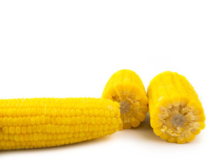 Sweet corn on white background.