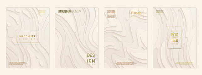 Obraz Vector set of cover design template with paper cutting abstract patterns; Modern white gradient; Realistic carving art; Vector 3d templates; Material design concept. - fototapety do salonu