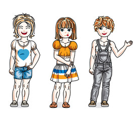Different little girls cute children standing wearing fashionable casual clothes. Vector diversity kids illustrations set. Childhood and family lifestyle clip art.