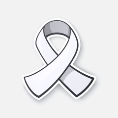 Vector illustration. White ribbon, international symbol of awareness about lung cancer, end male violence against women and girls. Sticker in cartoon style with contour. Isolated on white background