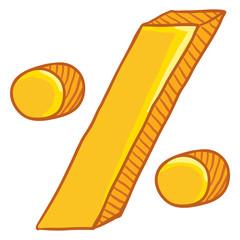 Vector Cartoon Gold Percent Symbol