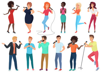 Vector cartoon singers with microphones and musicians set isolated. People singing karaoke songs.