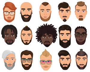 Hipsters stylish bearded men with different color hairstyles, mustaches, beards isolated.