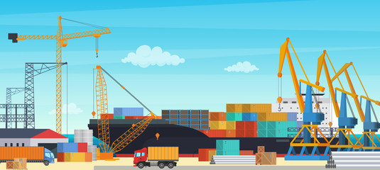 Logistics transportationt container ship with industrial crane import and export in shipping cargo harbor yard. Transportation industry vector illustration.