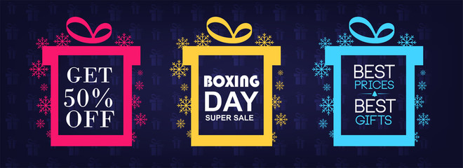 Set of boxing day sale symbol or icons. Calligraphic design of boxing day sale. Vector illustration.