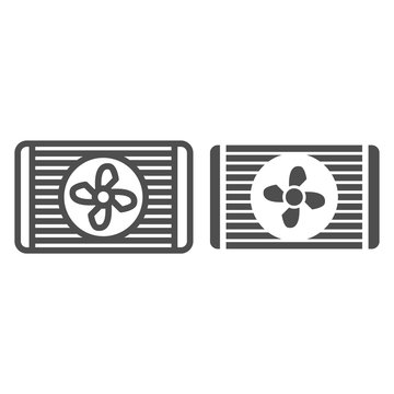 Radiator fan line and glyph icon. Car cooler vector illustration isolated on white. Automobile cooling outline style design, designed for web and app. Eps 10.