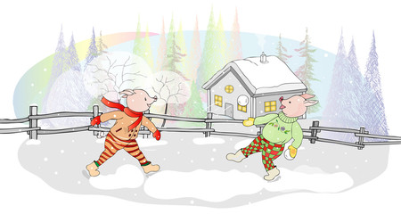 A fun postcard for the New year. Piglets playing snowballs on a winter day in the background of the forest and the village house.