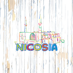 Colorful Nicosia drawing on wooden background