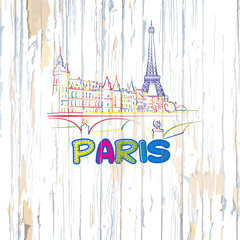 Colorful Paris drawing on wooden background