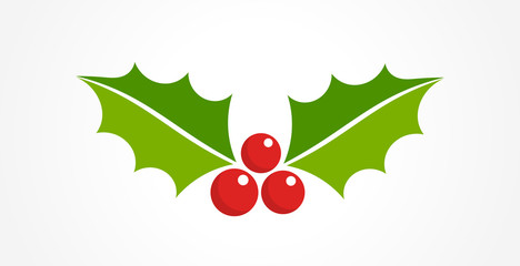Holly berry Christmas icon. Element for design