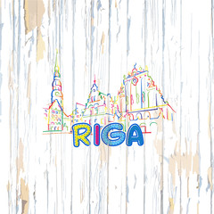 Colorful Riga drawing on wooden background