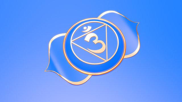 Purple Third eye chakra Ajna symbol concept of Hinduism, Buddhism, Ayurveda. Awareness. 3d rendering