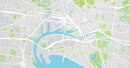 Urban vector city map of Melbourne, Australia