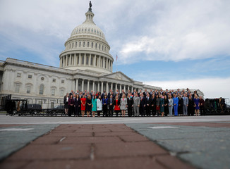 Incoming members pose for the 116th Congress Member-Elect Class Photo on Capitol Hill in Washington