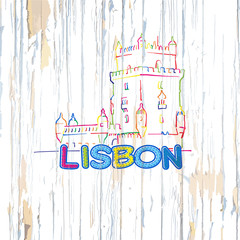 Colorful Lisbon drawing on wooden background