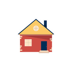 House in a flat style. Сottage, one story house as a icon, template, design element. Vector illustration isolated on white background.