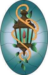 Stained glass pattern of old brown lantern with green leaves and oval background