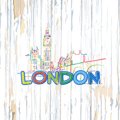 Colorful London drawing on wooden background