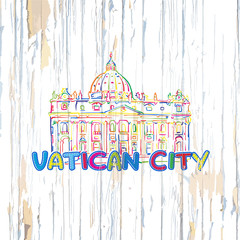 Colorful Vatican drawing on wooden background