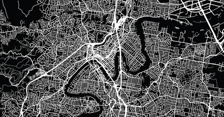 Urban vector city map of Brisbane, Australia
