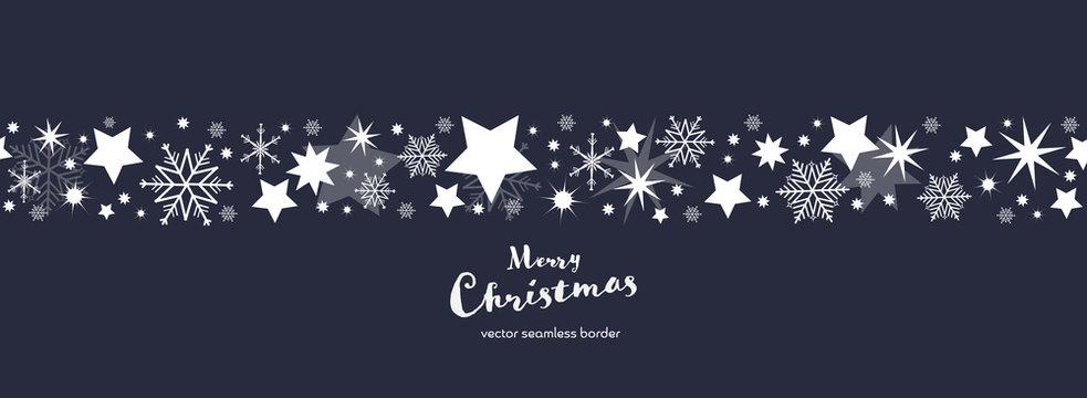 Christmas time. Dark blue and white snowflake and star seamless border. Text : Merry Christmas