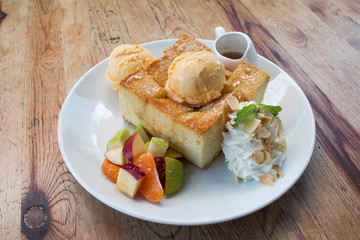 Toast Bread Pudding with ice cream and fruit