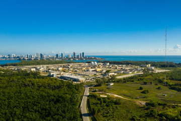 Aerial photo industrial water purification plant Key Biscayne Miami Florida