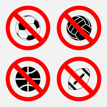 prohibition sign sports game, no play, play basketball, football