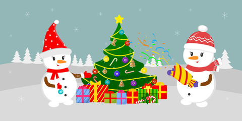 New Year and Christmas card. Two cute snowmen near the Christmas tree with gifts, in the winter against the background of snowflakes. Cartoon style, vector