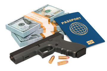 Gun, passport and cash. Crime concept. 3D rendering