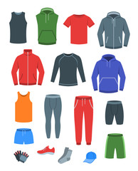 Men casual clothes for fitness training. Basic garments for gym workout. Vector flat illustration. Outfit for active modern man. Sport style male shirts, pants, jackets, tops, bottoms, shorts, socks