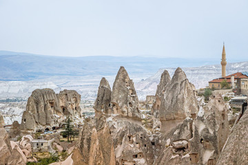 landscape of rocky formation in cappadocia