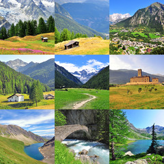 Val d'Aosta provice summer landscapes, italian travel collage