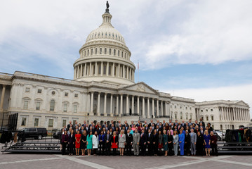 Incoming U.S. representatives pose for the 116th Congress Member-Elect Class Photo on Capitol Hill in Washington