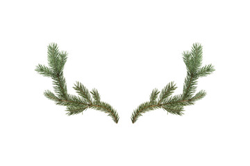 3D rendering of deer horns made of fir branches isolated on white background