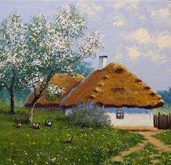 Oil paintings landscape. Spring, house.  Old village. Fine art.