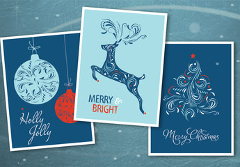 Christmas Greeting Card Layout Set with Intricate Ilustrations