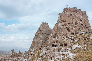 landscape of Uchisar Castle in cappadocia