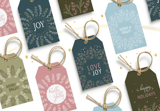 Christmas Gift Tag Layout Set with Intricate Wreath Illustrations