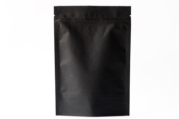 black paper doypack stand up pouch with zipper on white background